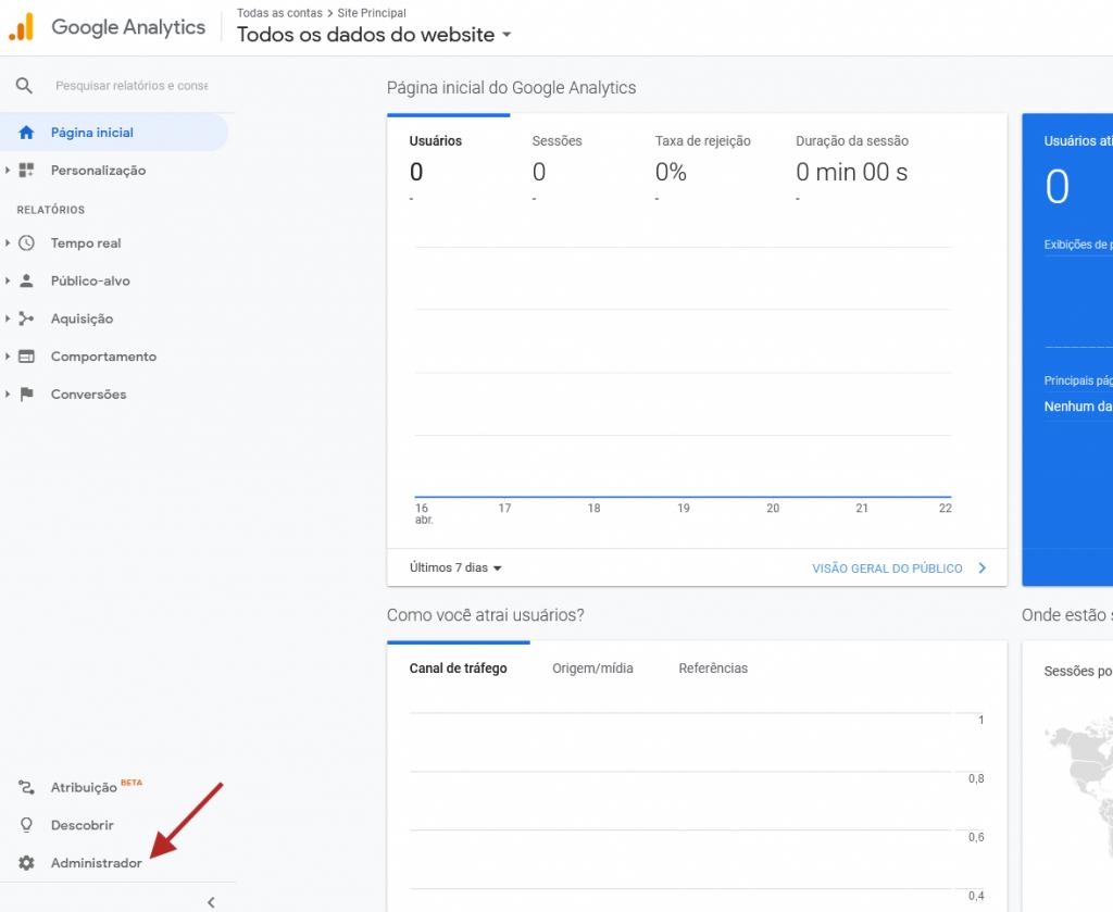 analytics google acesso administrador