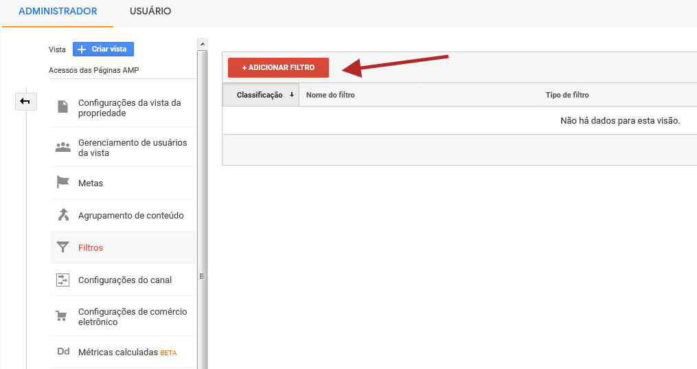 analytics google criar filtro botao